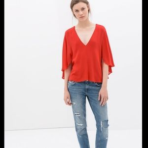 Zara Woman Red Cape Flowy Blouse Size Small